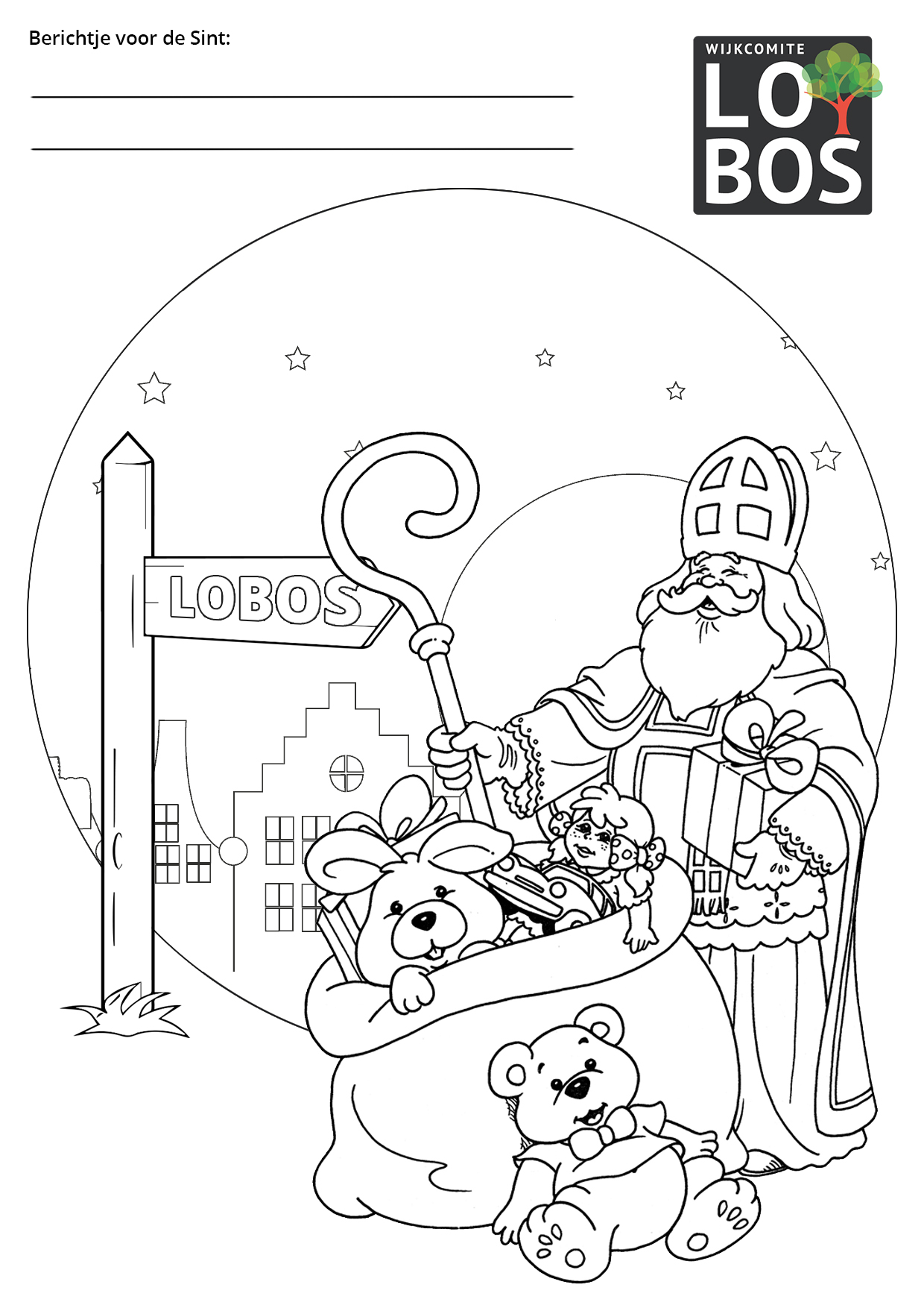 Kleurplaat Sinterklaas Lobos 2020
